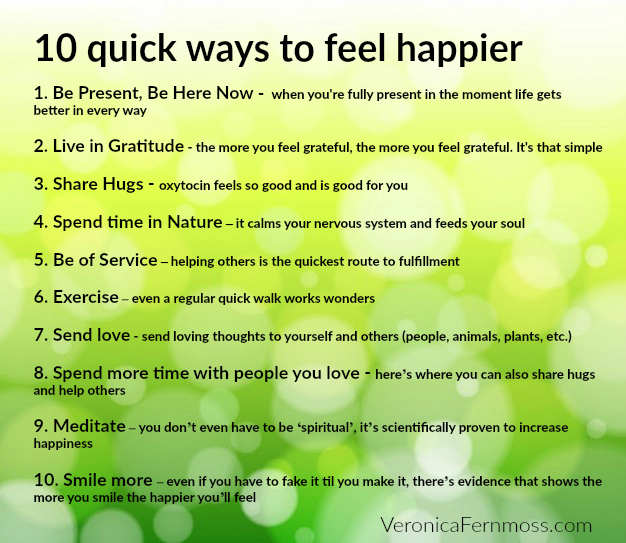 10 quick ways to feel happier